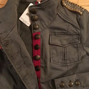 a460f30d483 Free People Jackets   Coats - Free People XS 0 Beaded Shrunken Officer  MILITARY